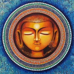 BUDDHA - THE RISE OF SOUL CONSCIOUSNESS SERIES 1 by NITU CHHAJER, Decorative Painting, Acrylic on Canvas, Brown color