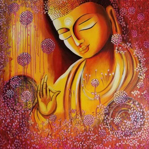 EMERGING BUDDHA SERIES 4 by NITU CHHAJER, Decorative Painting, Acrylic on Canvas, Brown color