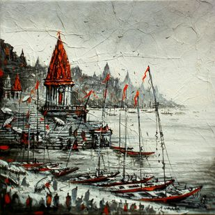 Varanasi by Ananda Das, Expressionism Painting, Acrylic on Canvas, Beige color
