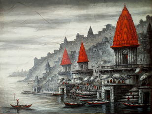 Varanasi by Ananda Das, Expressionism Painting, Acrylic on Canvas, Gray color
