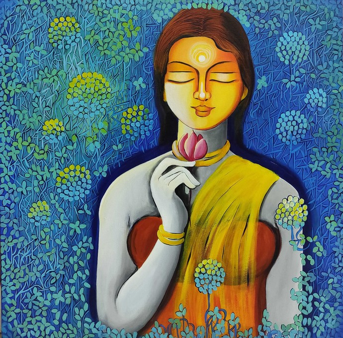 ONLY LOVE IS REAL SERIES 7 by NITU CHHAJER, Decorative Painting, Acrylic on Canvas, Blue color