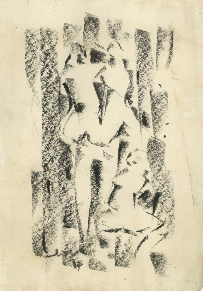 Into The Woods by Ram Divakar, Illustration Drawing, Oil Pastel on Paper, Beige color