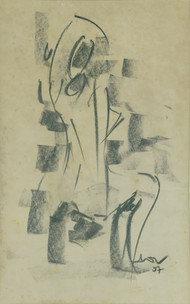 Woman by Ram Divakar, Illustration Drawing, Oil Pastel on Paper, Beige color
