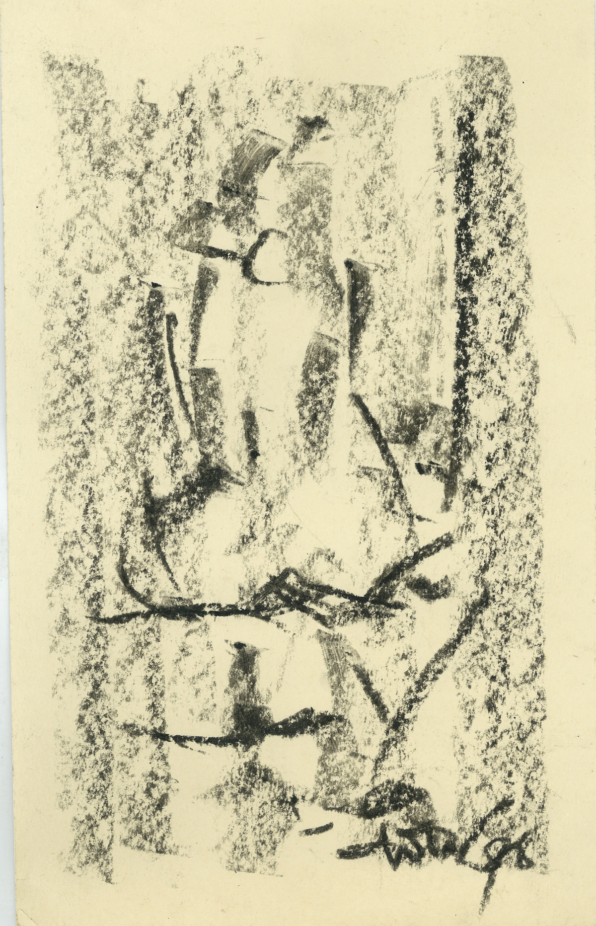 Bathe by Ram Divakar, Abstract Drawing, Oil Pastel on Paper, Beige color