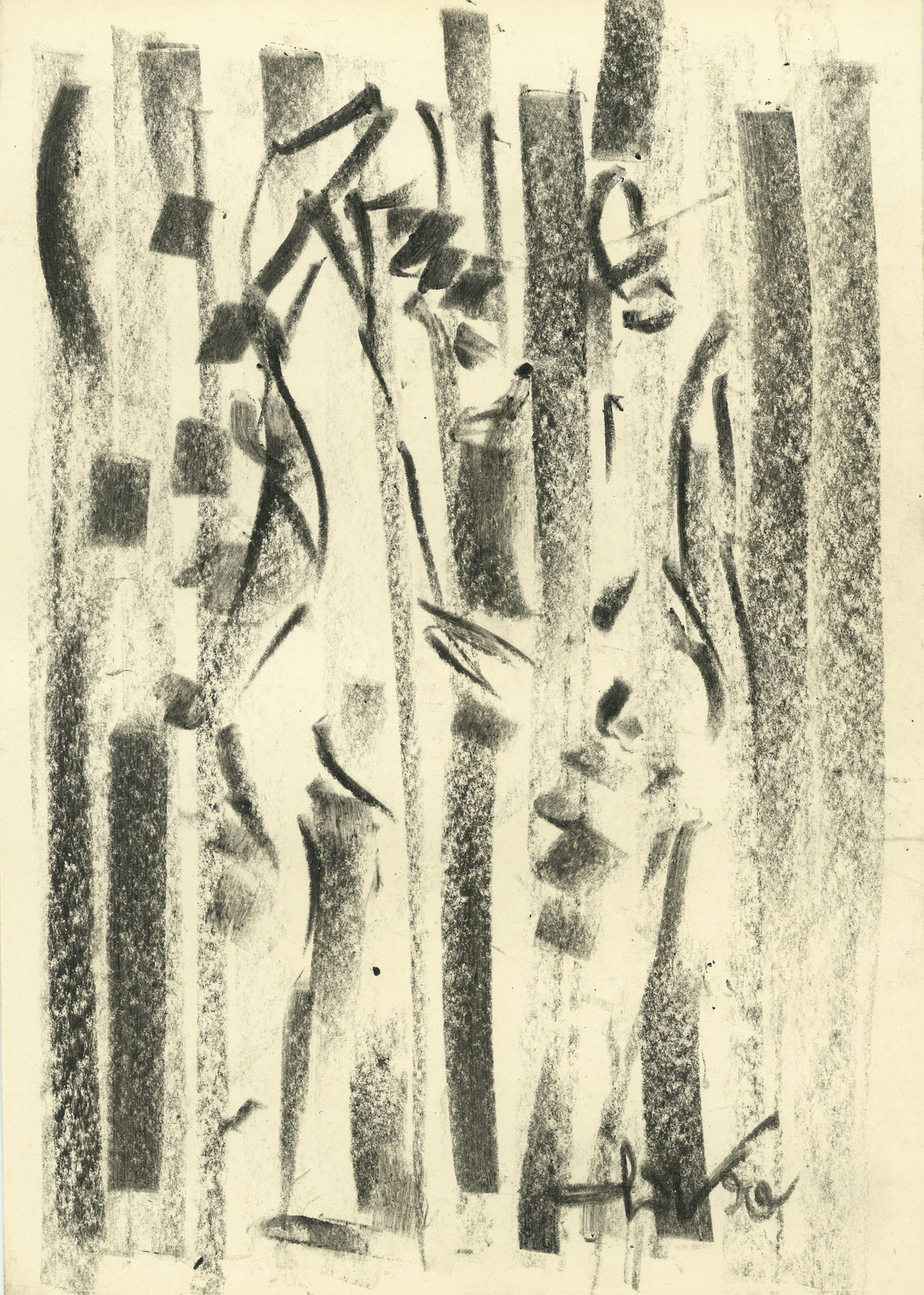 Untitled by Ram Divakar, Abstract Drawing, Oil Pastel on Paper, Beige color