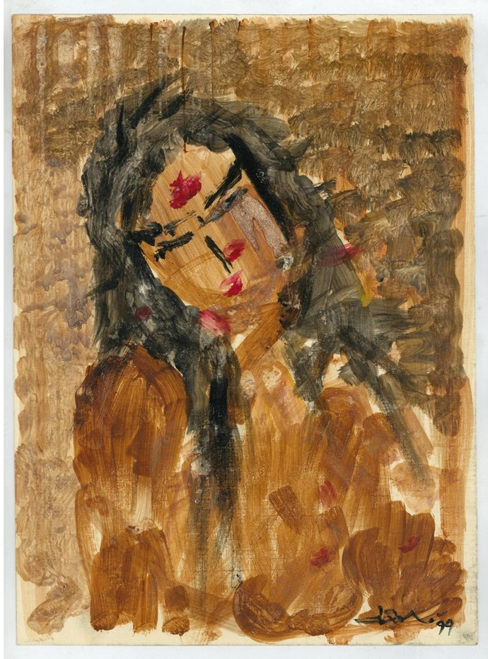 Woman by Ram Divakar, Expressionism Painting, Acrylic on Paper, Brown color