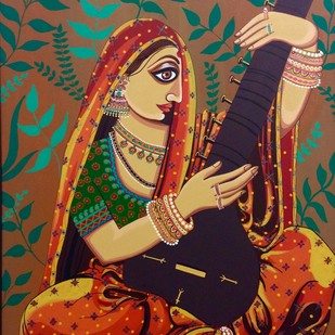 Ragini by Tallita, Expressionism Painting, Acrylic on Canvas, Brown color