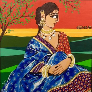 Sandhya by Tallita, Expressionism Painting, Acrylic on Canvas, Brown color
