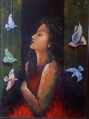 Free Soul by Arpita, Expressionism Painting, Acrylic on Canvas, Blue color