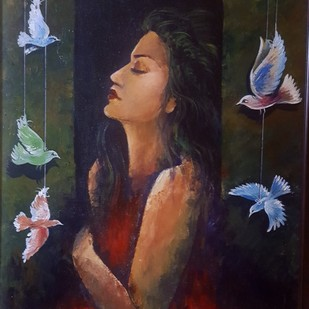 Free Soul by Arpita Dasgupta, Expressionism Painting, Acrylic on Canvas, Blue color