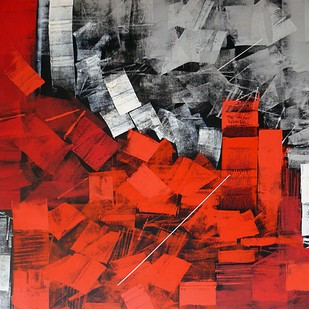 Untitled by Sudhir Talmale, Abstract Painting, Oil on Canvas, Red color