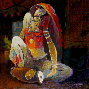 untiteld by Surendra Pal Singh, Expressionism Painting, Oil & Acrylic on Canvas, Brown color
