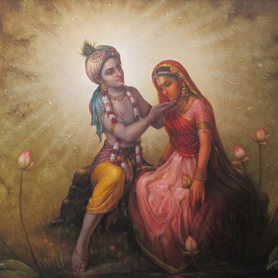 Radha Krishna by Subrata Sen, Photorealism Painting, Oil on Canvas, Brown color