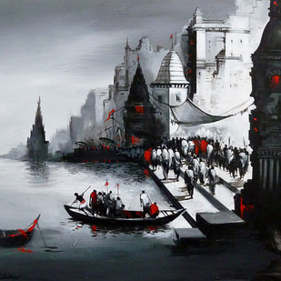 Banaras Ghat by Dilip Chaudhury, Impressionism Painting, Acrylic on Canvas, Gray color