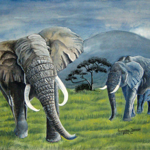 Elephants Digital Print by Soumendra Banerjee,Impressionism