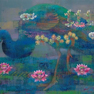 Mayura by Shampa Sircar Das, Expressionism Painting, Acrylic on Canvas, Green color