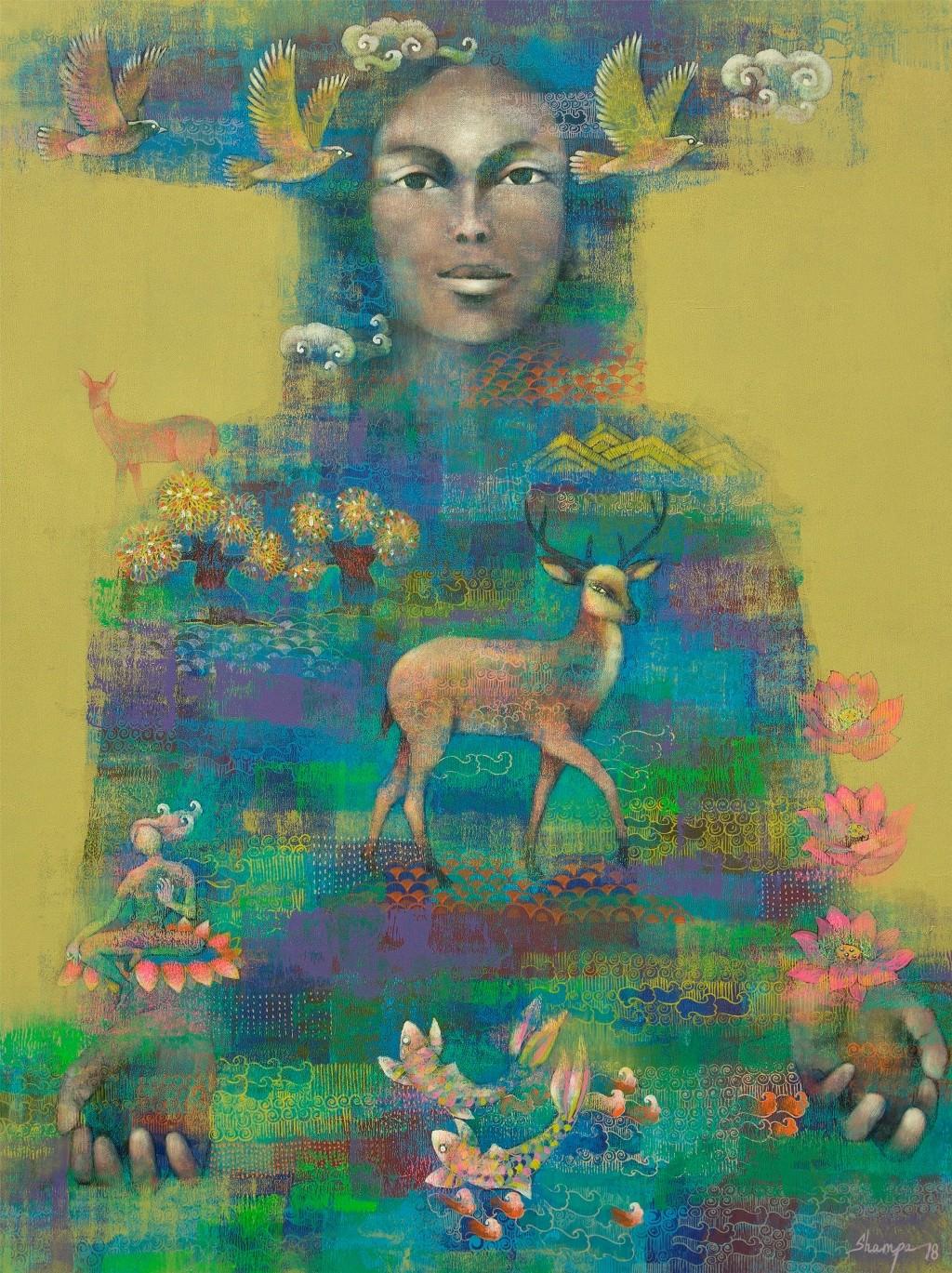 Prakriti - I by Shampa Sircar Das, Expressionism Painting, Acrylic on Canvas, Green color