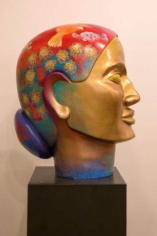 Prakriti-III by Shampa Sircar Das, Expressionism Sculpture | 3D, Fiber Glass, Brown color