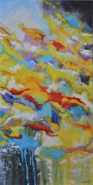 Red Flashes in a Yellow Sky by Mehernosh Venkatraman, Abstract Painting, Acrylic on Canvas, Beige color
