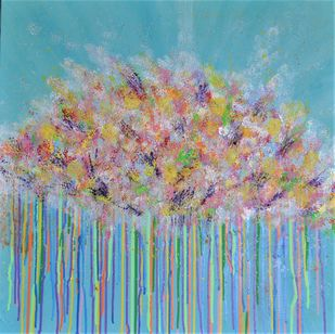 Cloud of Flowers by Mehernosh Venkatraman, Abstract Painting, Acrylic on Canvas, Cyan color