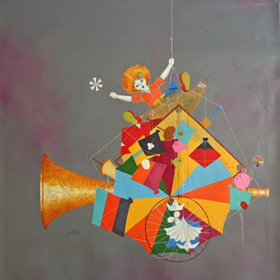 Treasure of the childhood xviii by shiv kumar soni, Expressionism Painting, Acrylic on Canvas, Brown color