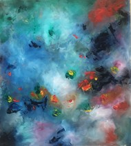 free falling by shelja, Abstract Painting, Oil on Canvas, Blue color