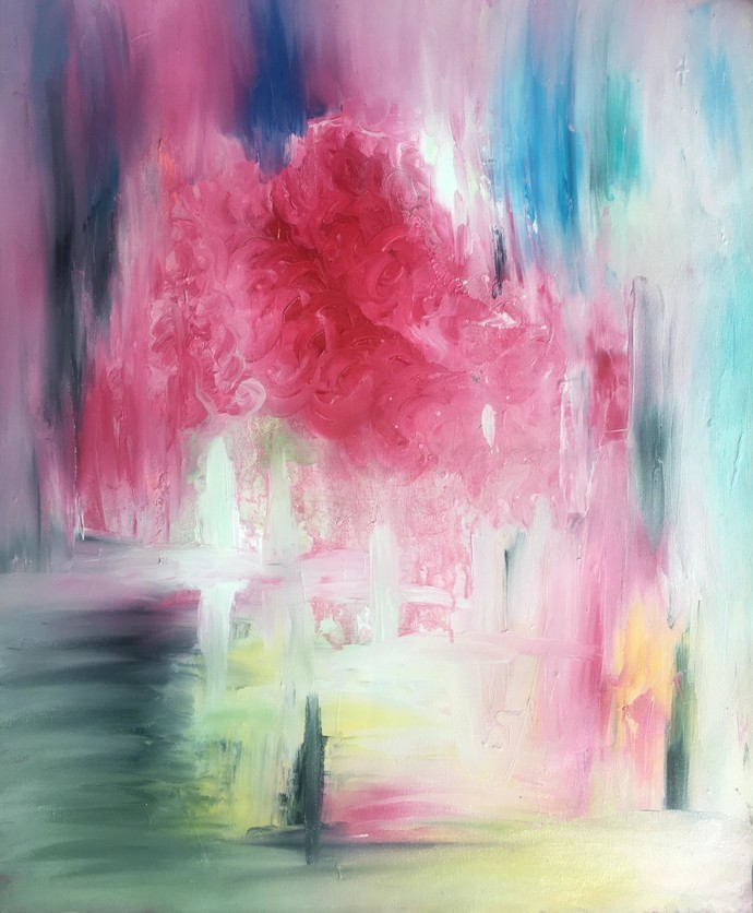 day dreams by shelja, Abstract Painting, Oil on Canvas, Pink color