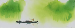 Untitled by N.K. BASKARAN, Impressionism Painting, Watercolor on Paper, Green color