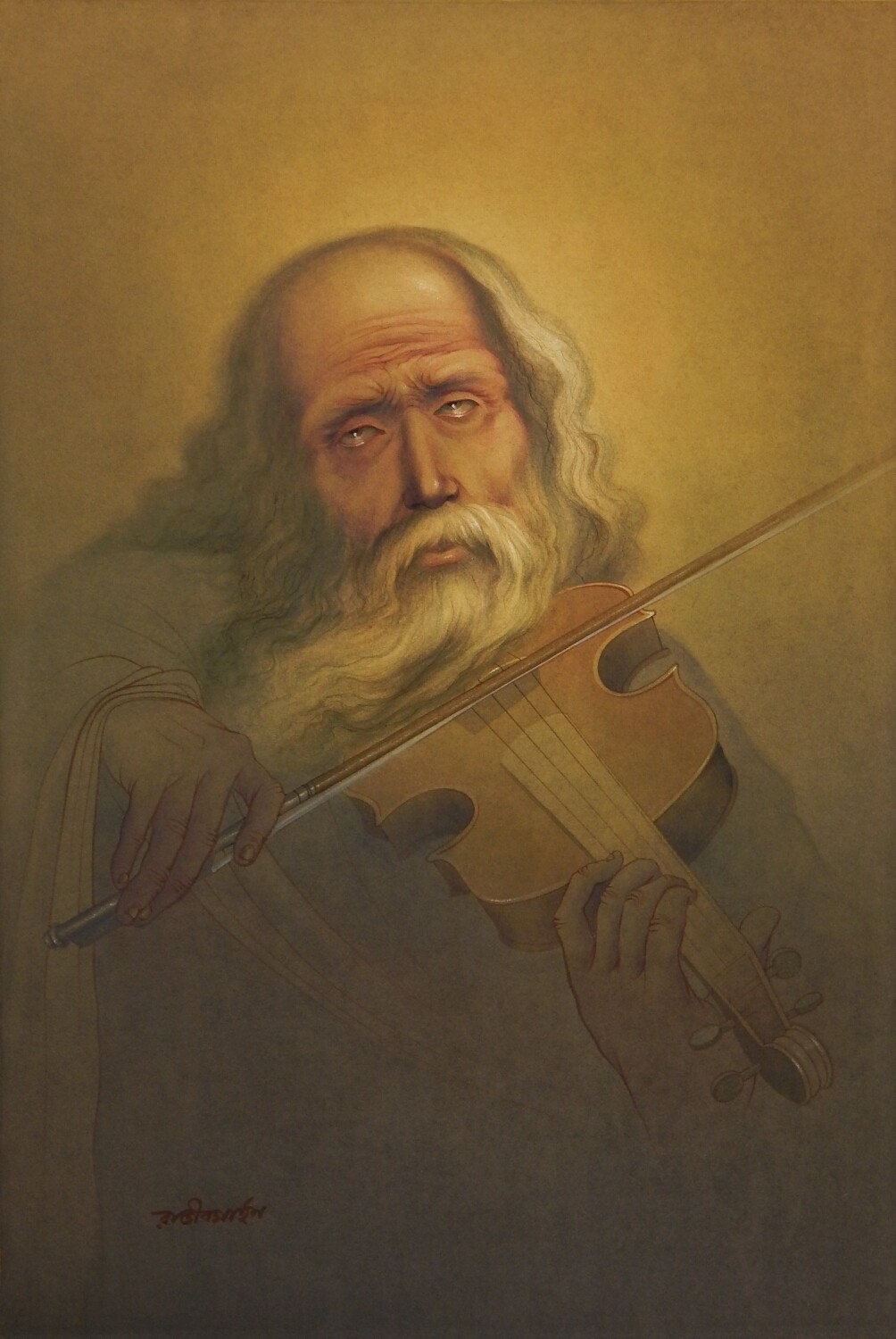 OLD MUSICIAN by Rajib Gain, Expressionism Painting, Watercolor Wash on Paper, Brown color