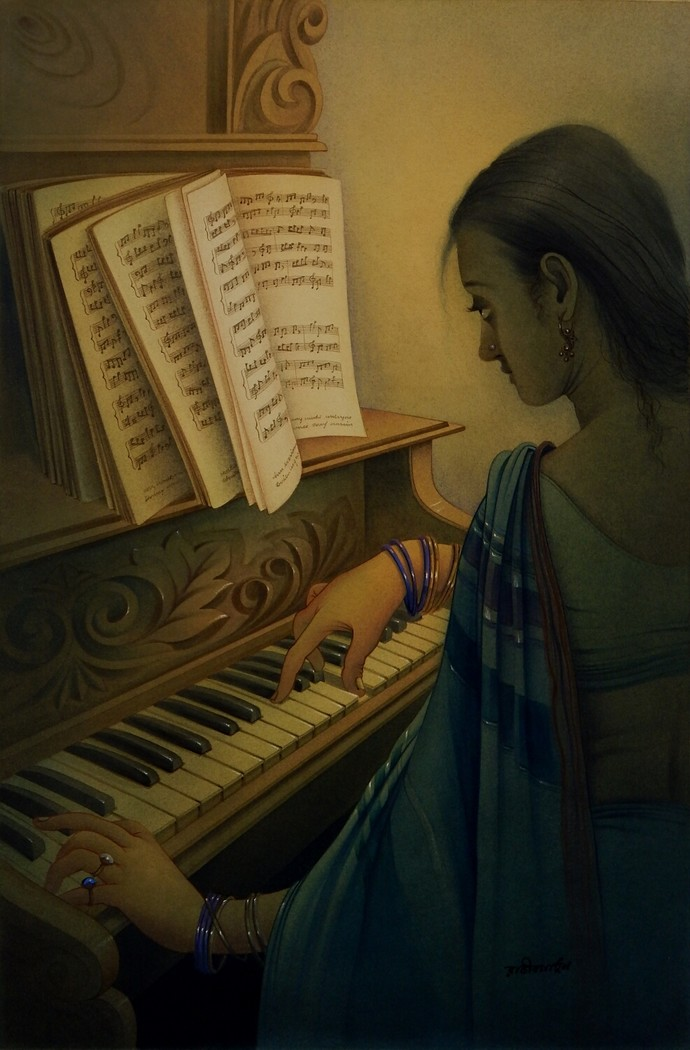 MUSICIAN by Rajib Gain, Expressionism Painting, Watercolor Wash on Paper, Brown color