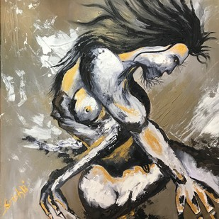 Untamed by Srishti Bansal, Expressionism Painting, Acrylic on Canvas, Brown color