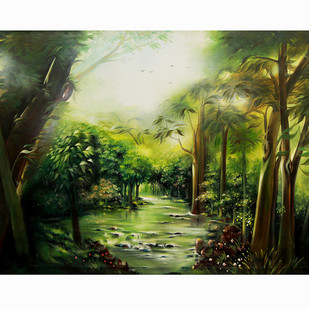 Nature by Sujata Chouksey, Impressionism Painting, Oil on Canvas, Green color
