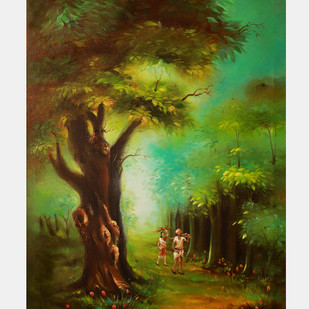 Forest by Sujata Chouksey, Impressionism Painting, Oil on Canvas, Green color