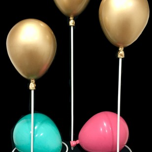 Balloons (set of 5 ) by Vernika, Art Deco Sculpture | 3D, Fiber Glass, Black color