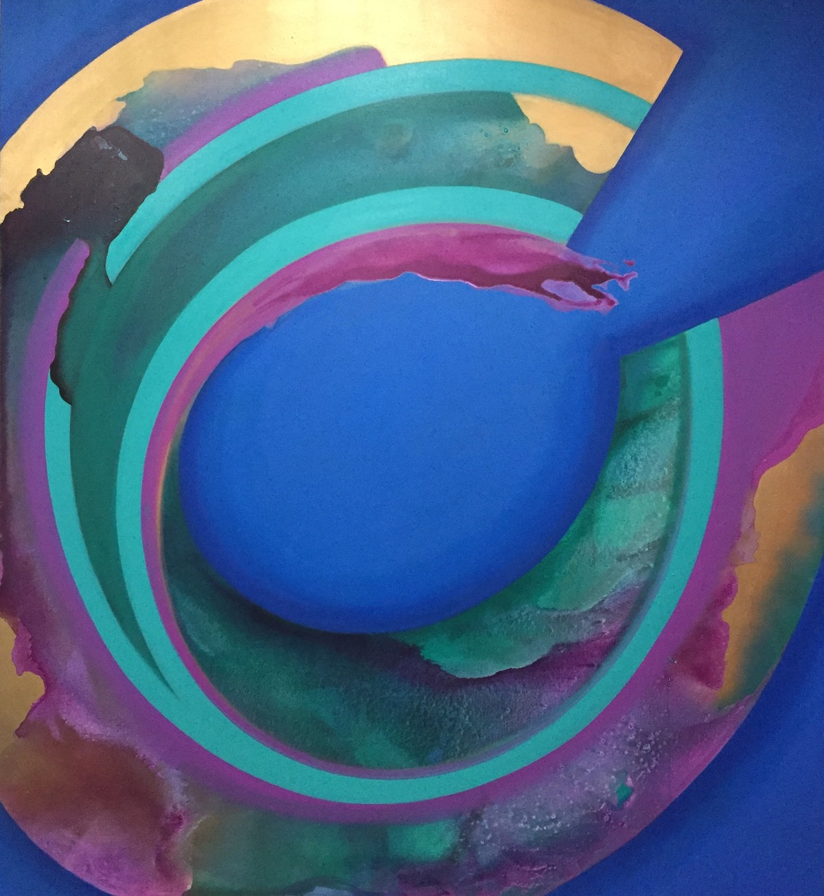 Magnetism by Vernika, Abstract Painting, Acrylic on Canvas, Blue color