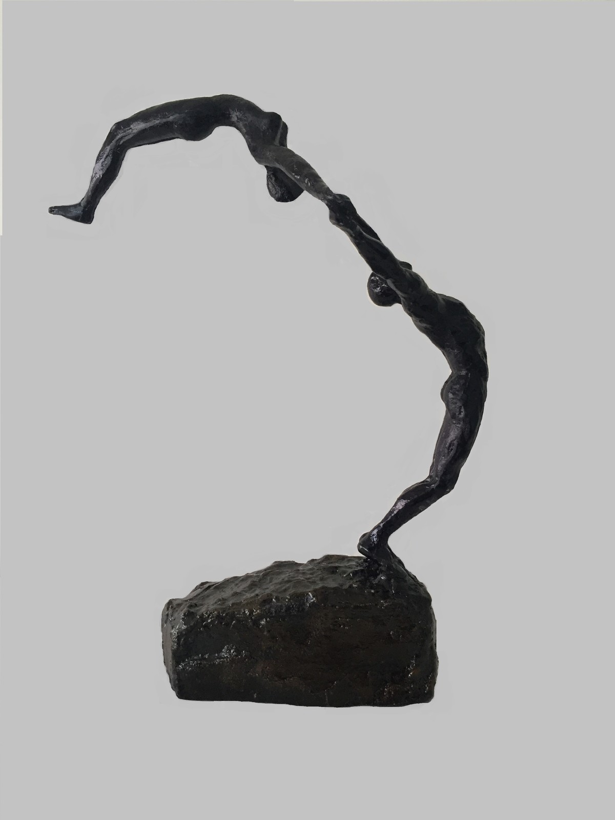 Gymnasts (metal base) by Vernika, Abstract Sculpture | 3D, Metal, Cyan color