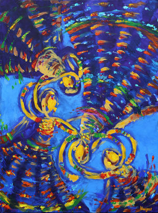 Group Blue by Kavya vyas , Expressionism Painting, Acrylic on Canvas, Blue color