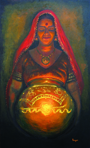 Garbh Deep by Kavya vyas , Expressionism Painting, Acrylic on Canvas, Brown color