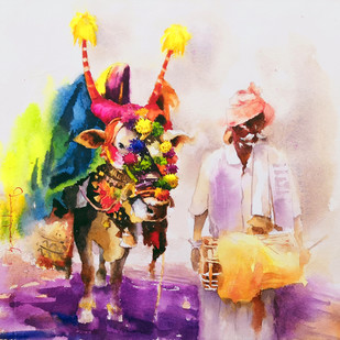 Gangireddu with Master (2) by Jeyaprakash M, Expressionism Painting, Watercolor on Paper, Pink color