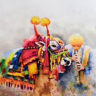 Gangireddu with Master (3) Digital Print by Jeyaprakash M,Expressionism