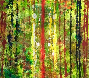 Amazon Rainforest by Aatmica Ojha, Abstract Painting, Mixed Media on Cloth, Green color