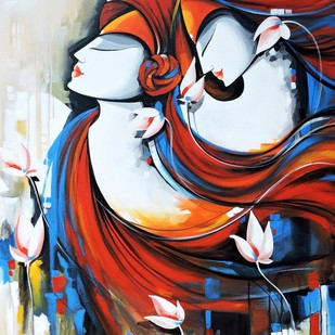 loving couple by pradeesh k raman, Decorative Painting, Acrylic on Canvas, Brown color