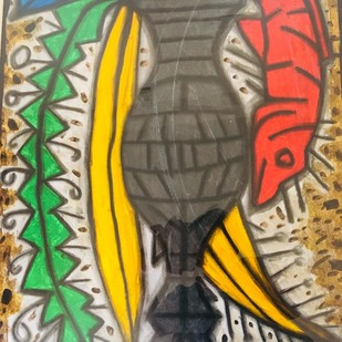 Fish in vase by R.B Bhaskaran, Expressionism Painting, Acrylic on Paper, Brown color
