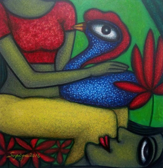 NEEDS by Supriyo Sahoo, Expressionism Painting, Acrylic & Ink on Paper, Green color