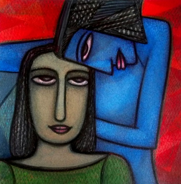 NEEDS by Supriyo Sahoo, Expressionism Painting, Acrylic & Ink on Paper, Blue color