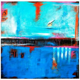Destination Point by tajinder pal singh, Abstract Painting, Acrylic on Canvas, Cyan color