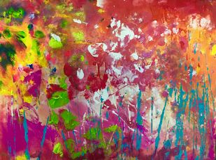 Brezza Nel Roseto by Aatmica Ojha, Abstract Painting, Acrylic on Board, Brown color