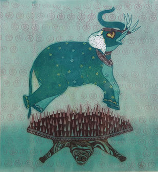 Sandwich by Sonal Varshneya, Expressionism Printmaking, Etching on Paper, Green color