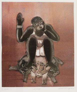 Shakti by Sonal Varshneya, Expressionism Printmaking, Etching on Paper, Brown color