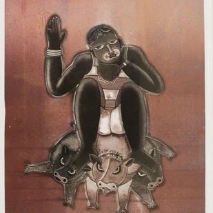 Shakti by Sonal Varshneya, Expressionism Printmaking, Etching on Paper, Brown color